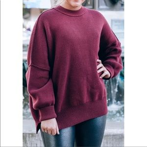 Free People Pomegranate Easy Street Tunic Sweater